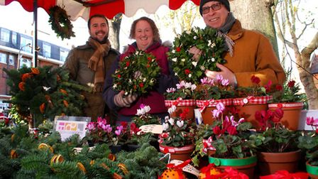 West Hampstead Christmas Market on West End Green 30.11.13. Pictured Camden Society stall with Chris