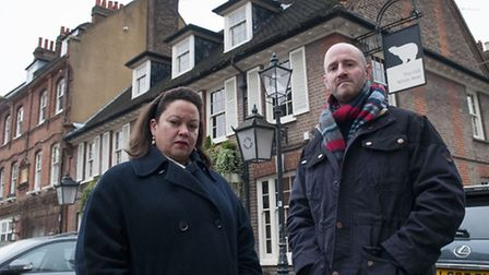 Jessica Learmond-Criqui, of the Hampstead Shops Campaign, and Cllr Simon Marcus outside The Old Whit