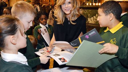 Amanda Holden and pupils from Colvestone Primary