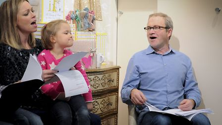 Sarah Alexander with her daughter Phoebe, four, and Harry Enfield reading poetry. Picture: Mark Haka