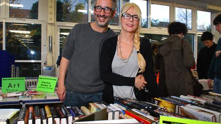 David Baddiel and Morwenna Banks at Camden School for Girls Book Fair. Picture: Polly Hancock