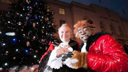 Speaker of Hackney Michael Desmond with xx from Hackney Empire Puss in Boots. Picture: GARY MANHINE