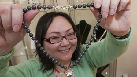 Jeweller Kochi Okada with some of her work. Picture: Nigel Sutton.