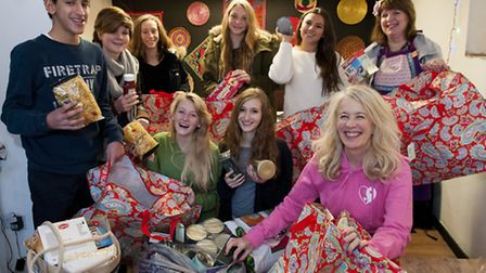 King Alfred School pupils donate food for Alexandra Wylie Christmas parcels campaign, pictured with