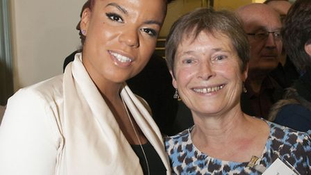 Ms Dynamite pictured with CEO of WAC Arts Celia Greenwood at the 35th birthday party. Picture: Nigel