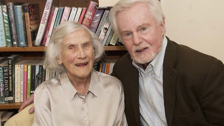 Sir Derek Jacobi withDr Athol Hughes, 93, the oldest member of the library. Picture: Nigel Sutton