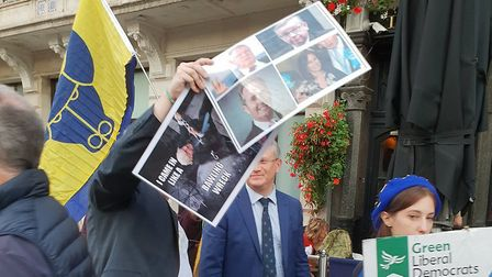 Photographs of Andrew Rosindell being followed by a Boris Johnson impersonator (Photograph: EU Flag