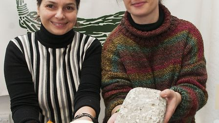 Spanish Night at Hampstead Community centre.Victoria Skyftou and Eva Fuertes with Spanish cheeses.