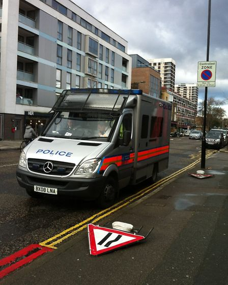 Police on hand next to Kingsland fire station in case trouble breaks out. Photo Emma Bartholomew