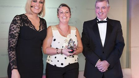 (from left to right) Ceremony MC Steph McGovern, teacher of the year Catherine Drew and Signature bo
