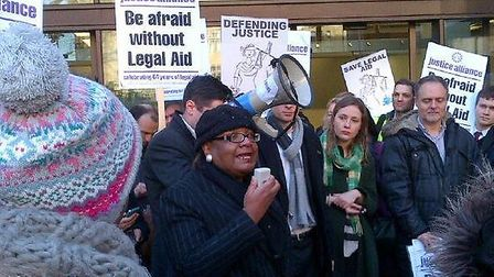 MP Diane Abbott speaking at the demo