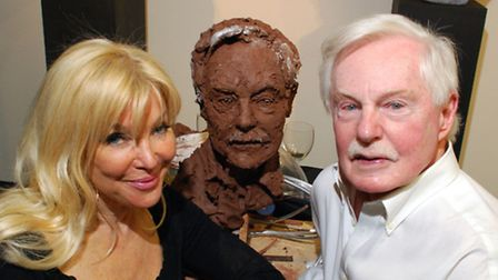 Royal sculptor Frances Segelman sculpts Sir Derek Jacobi live in front of an invited audience at the