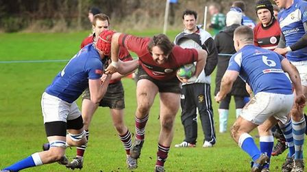 Damir Jovanovic (centre) scored the opening try for UCS. Pic: Nick Cook/UCS Old Boys RFC