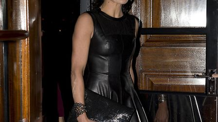 Sophie Anderton arrives at the Kate Moss at the Savoy exhibition. Picture: PA Wire/Laura Lean.