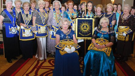 Enthronement of the Grand Master ceremony. Seated left, outgoing Grandmaster Bernice Abram and right