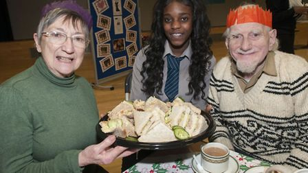 Pupils host a teaparty for senior citizens at Haverstock School. Janet Fruin, 78, and George Telfer,