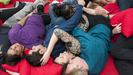 Members join in a mass-spooning. Picture: Nigel Sutton