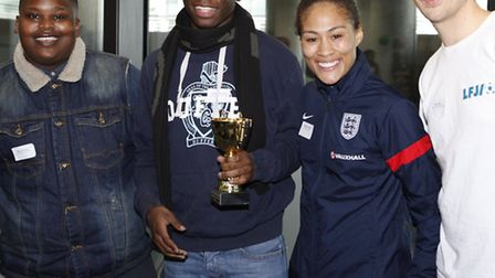 From left to right: Youth worker Edson Rabole with LFJ ambassador of the year Laroque Robinson, foot