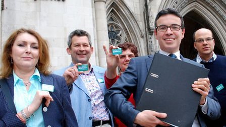 David Attfield (front, centre) with supporters outside the Royal Courts of Justice. Picture: Polly H