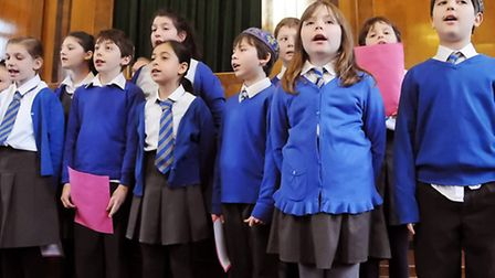Kids performing songs from Simon Marks Primary Schoo to commemorate Holocaust Memorial Day.