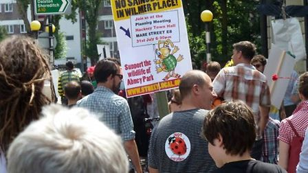 More than 300 residents and campaigners take part in a bug parade to oppose a Sainsbury's in Wilmer