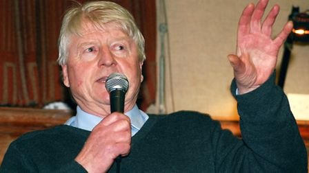 Stanley Johnson delivering Churchillian speech against HS2 at Cecil Sharp House yesterday evening. P