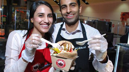 Kajal and Mitan Sachder, the husband and wife team behind Falafel City which opened at the O2 Centre
