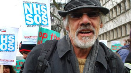 Actor Roger Lloyd-Pack while marching to save the Whittington Hospital in March, 2013. Picture: Poll