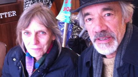 Roger Lloyd-Pack and wife Jehane at the protest against cuts at the Whittington Hospital in March la