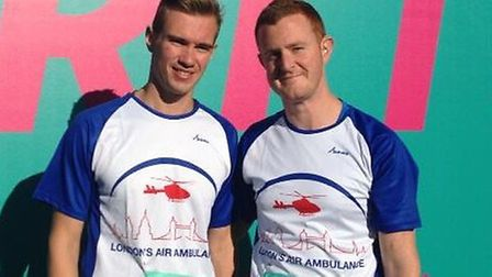 Nick Snow (right) and his partner Brodie, in the 10k Marathon.