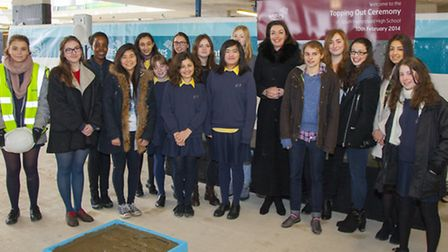 Headteacher Helen Pike with the Girls Building Committee and head girl team at South Hampstead High