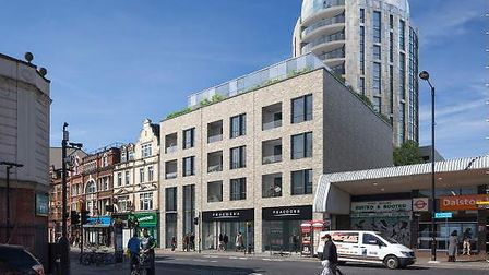 An image of how the 15-storey Rothas development will overshadow Kingsland Road