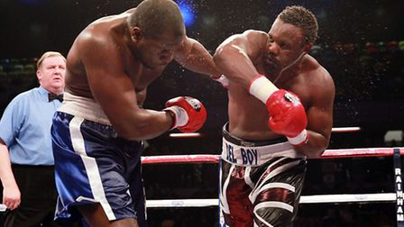 Dereck Chisora (right) defeated Kevin Johnson at the Copper Box Arena