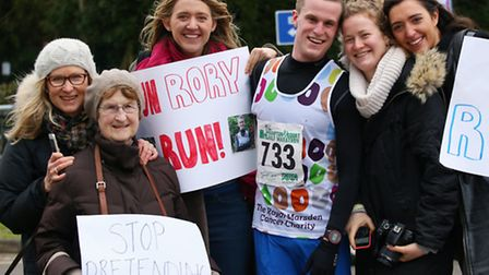 A family affair: Rory Campbell with (from left) his mum Fiona Millar, grandmother Audrey Millar, Geo