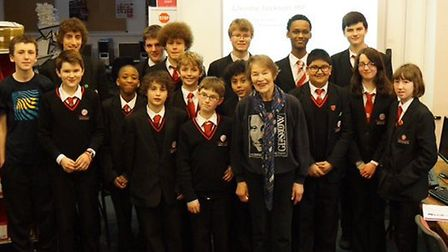 Glenda Jackson MP (centre) with members of the film club at Hampstead School