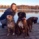 Hayley Byfield with dogs Daisy, Duke and Diamond
