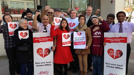 Protestors campaign outside Swiss Cottage Post Office on its last day