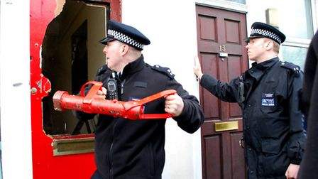 Police force entry into property in Southampton Road as protesters refuse to leave. Picture: Polly H