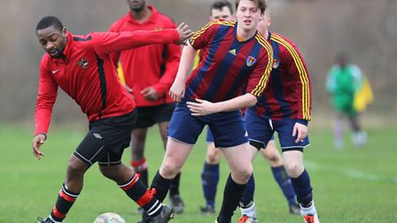 FC Bartlett (red/blue) vs Tottenham Phoenix - Hackney & Leyton Sunday League Football at South Marsh