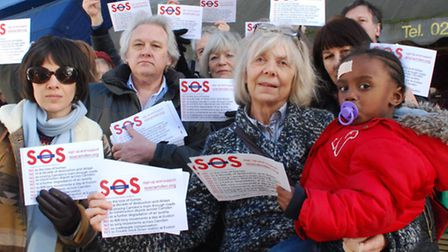Supporters of SOS Camden campaign in Primrose Hill to raise awareness of the negative impacts of HS2