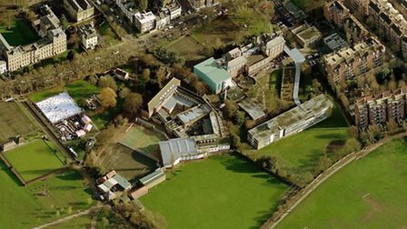 A photograph of the current William Ellis (on left) and Parliament Hill (on right) schools site