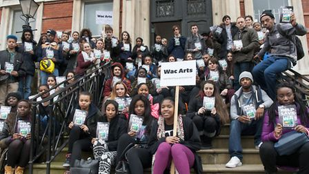 Students outside Wac Arts college at the Old Hampstead Town Hall, where the free school will be base