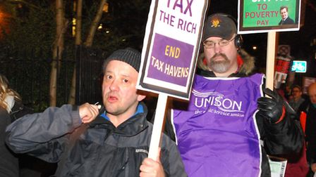 About 80 people gathered for the Unison march. Picture: Polly Hancock.