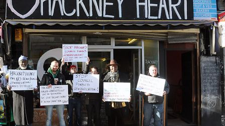 The protest outside Hackney Heart, photo Dieter Perry