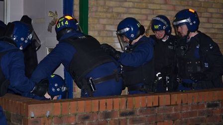 The Territorial Support Group took part in the early morning raids in Haggerston