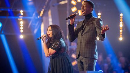 Sarah Eden-Winn in a singing battle against Jermain Jackman for The Voice, Photo BBC Wall To Wall, G