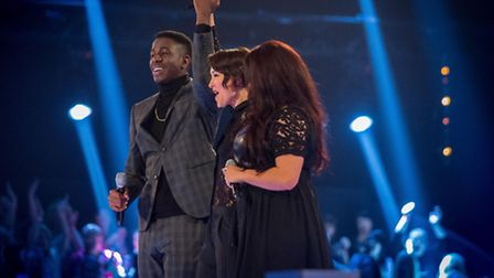 Sarah Eden-Winn in a singing battle against Jermain Jackman for The Voice, with presenter Emma Willi