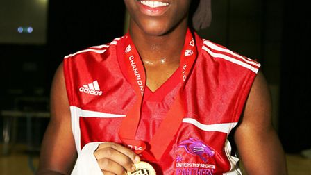Kara Baah shows off her gold medal in Sheffield