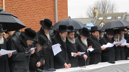 Some of the rabbis at the top table at Sunday's protest, photo PhotoYYM, @photoyym