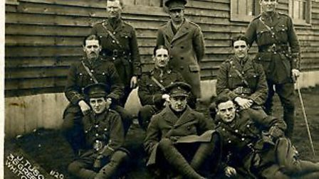 Marcus Segal, far left on the front row, with fellow soldiers